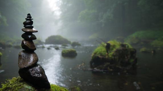 River Stones Moss Mystical Background Fog Cairn