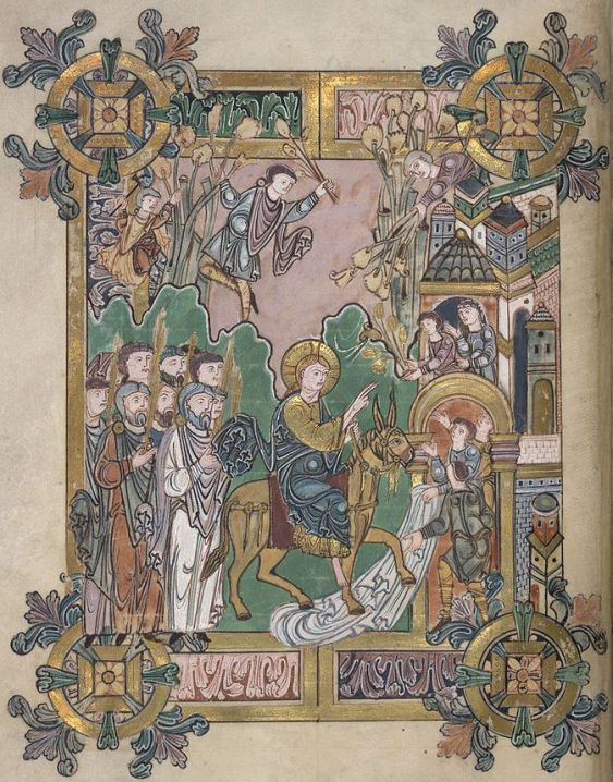 The_Entry_into_Jerusalem_-_Benedictional_of_St._Aethelwold_(971-984),_f.45v_-_BL_Add_MS_49598